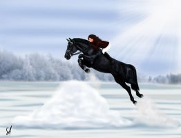 Jumping Bareback in the snow by SilviasDesires