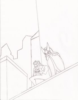 DCAU Nightwing and Huntress Sketch by SuprSnke20