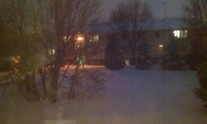 Snowy Backyard Nightfall by GothicHalfa1