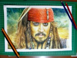 Jack Sparrow Color Pencil Drawing by Alechx