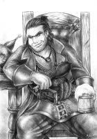 Dragon Age 2 Varric Tethras bw by Agregor