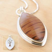 Reversible Petrified Wood+Tree Pendant by metalsmitten