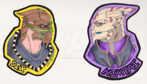 Badges - Six and Nim by GrievousGirl