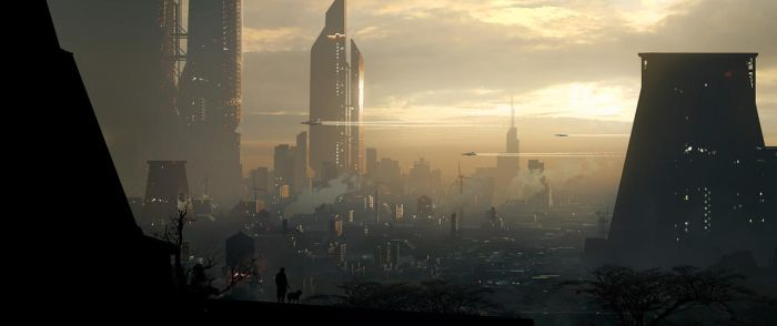 Sci-fi city With Dog by Raphael-Lacoste