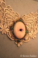 Winged lace and gold Eye choker necklace 2 by kirstenbakker