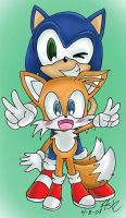 Sonic and Tails by OrangeBlueCream