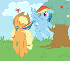 Applejack an Rainbow Dash by Tenchi-Outsuno