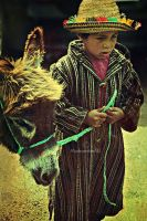 lil kid and his donkey by mydecember90