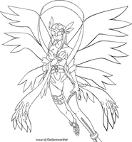 Angewomon lineart by TheDarknessWolf