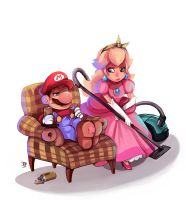 Peach and Mario by beiibis