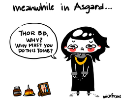 Meanwhile in Asgard by michfranc