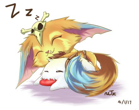 Sleep time with Gnar by LilLeafy