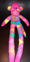 pink argyle monkey by wiccanwitchiepoo