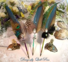 DRAGONFLY MAGICK Feather Pens by ChaeyAhne