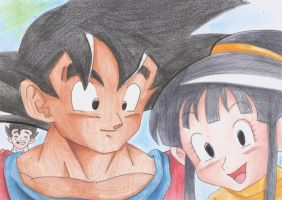 Goku and chichi happy family by Ricao