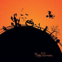 Free vector happy Halloween silhouettes poster des by cgvector