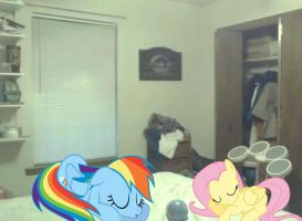 Rainbow Dash and Fluttershy is sleeping on the Bed by alerkina2