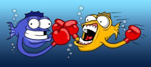 Funny Fish boxing Fight by jonthander