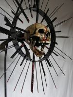 SPIKY SKULL SCULPTURE by TWISTEDFREAK666