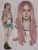 Pink haired lady by lllannah