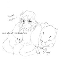 Chibi Icaris and a Wolf by sorenka