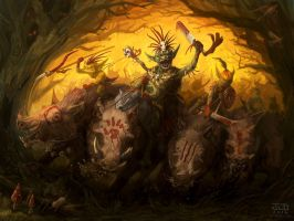 Goblin Boar Riders by waronmars