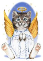 Angel Kitty - Tabby Cat by bigcatdesigns