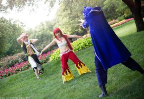 Erza Defends Natsu from Jellal by firecloak