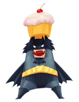 Batman loves cupcakes by kitanai-neko