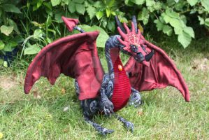Cinder OOAK handmade poseable dragon FOR SALE by DragonForge311088