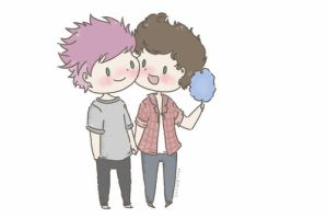 Pink haired Michael Clifford and Harry Styles by milamint