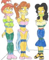 Simpsons Gals Grabbed by Godzilla713