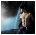 Sasuke behind the falls by Leox90