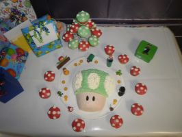 Super Mario Bros. 1up Cake by livvylove2000