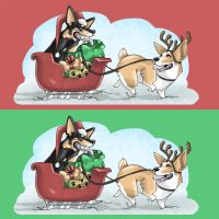 Christmas Corgis by captain-sunshine