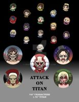 Attack on Titan Buttons by GrampaGen