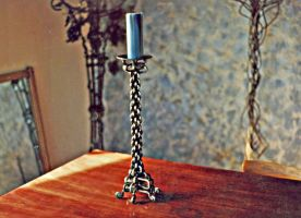 Celtic Woven Steel Candelabra by ou8nrtist2