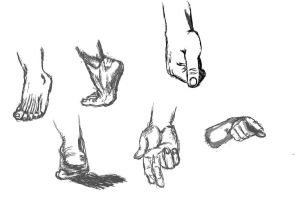 Hands and Feet practice by CaffeinatedSketches