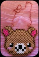 Kawaii Teddy Bear Perler Necklace! by gwennimarie