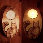 Maine Coon Cat Candle Holder Commission by CosmosCrafts