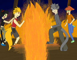Warriors Firescene Humanized by Shardspirit