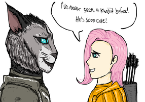 Fluttershy meets Kharjo the Khajiit by glue123