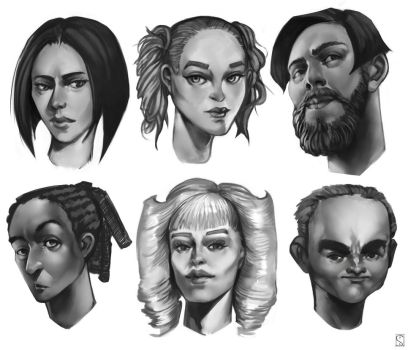 Character design - Faces by Sylwak