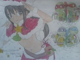 Merry Christmas from the turtles and kagome by DBSKSUJU101