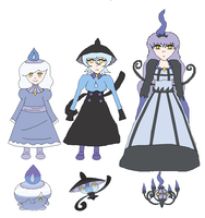 Litwick Lampent And Chandelure Gijinkas by BrokenDoll111