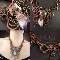 Butterfly and Cocoons Wire Wrapped Necklace by popnicute
