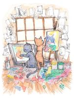 Kitten Artists by AmeliaDDraws