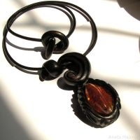 Necklace 1470 Hand carved wooden pendant and amber by AmberSculpture