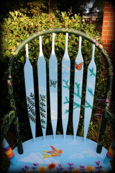 Whimsical Wildflower Chair - Chair Back Front View by ReincarnationsDotCom