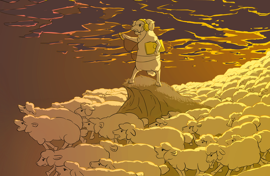 Sheep Stampede by Sarcallow
